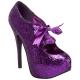 Escarpins à lacet paillettes violettes