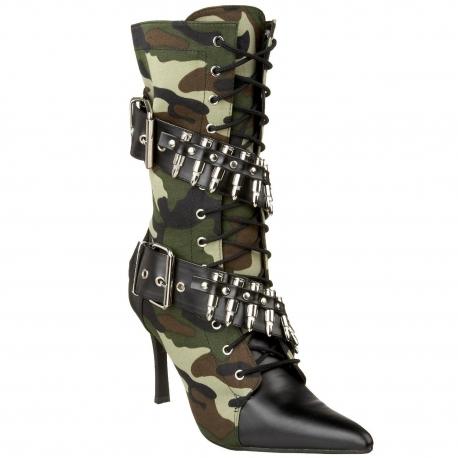 Haut Camouflage Coloris Talon Bottines Féminines dxorBCeW