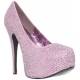 Escarpins strass rose talon haut