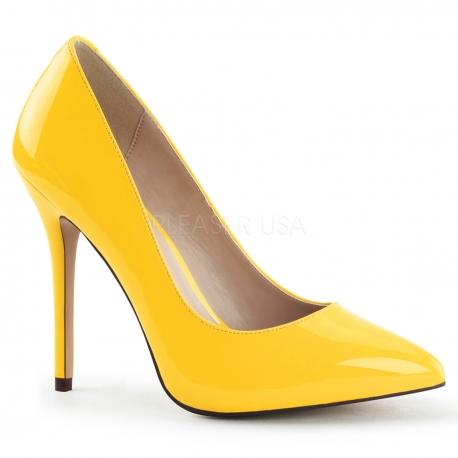 Escarpins modes femmes jaune vernis talon