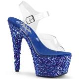 Sandale sexy Pole Dance transparente et strass bleutés talon plateau bejeweled-708ms