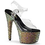 Sandales originales transparentes et strass colorés talon plateforme bejeweled-708ms