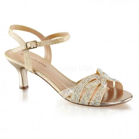 f5407e14746cc Sandale habillée à lanières strass or petit talon