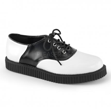 Chaussure en cuir noire et blanche creeper-606