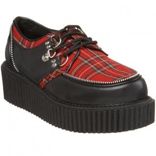Chaussure punk coloris noir et écossais creeper-113