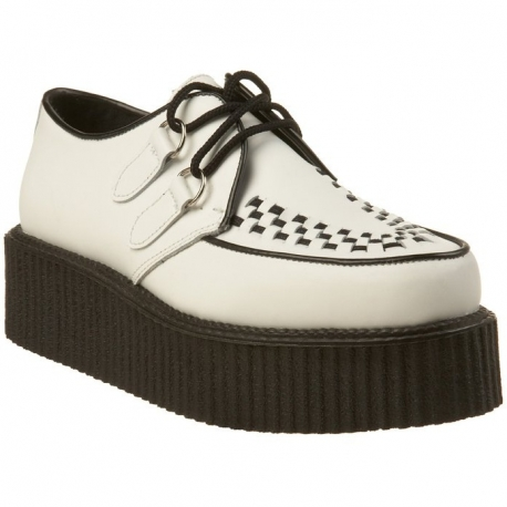 Chaussures Hommes Creepers Blanc Rockabilly Cuir rrTqc8