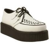 Chaussure gothique en cuir blanc creeper-402