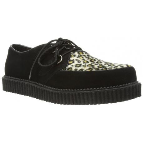 Chaussures creepers noires et léopard à lacet goth