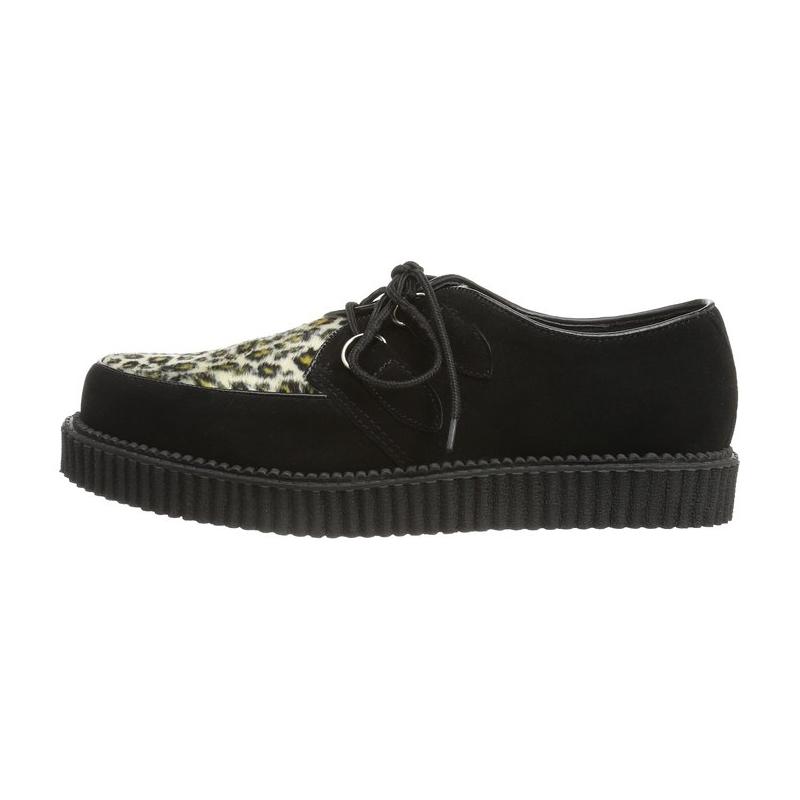 lacet noires creepers à et Chaussures léopard goth XqB71CCx