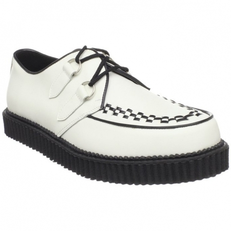 Chaussure à lacet en cuir blanc creeper-602