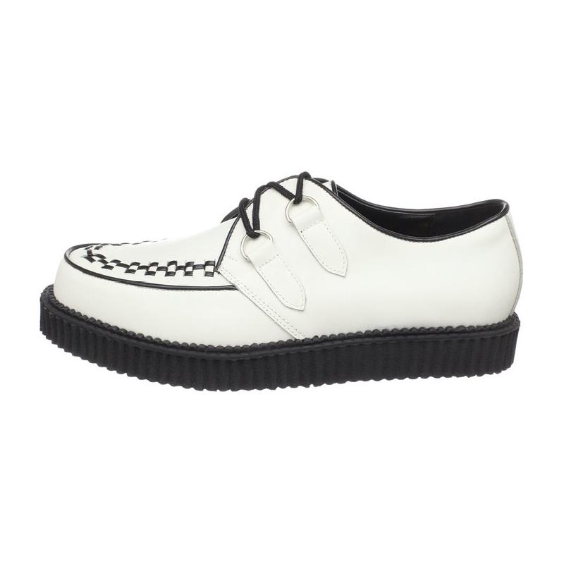 Chaussures à lacets en cuir avec semelle façon creepers - Blanc S8ECX