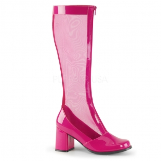 Botte originale style rétro coloris fushia talon carré gogo-307