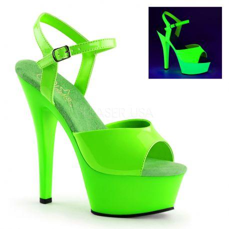 Sandale fluorescente verte talon haut plateforme kiss-209uv