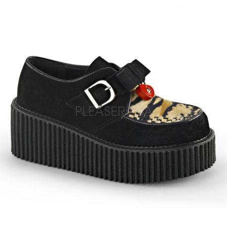 Creepers féminins coloris noir semelle double creeper-213