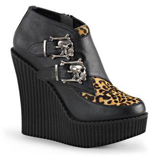 Creepers femme coloris noir et léopard talon compensé creeper-306