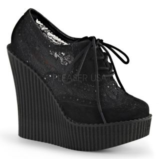 Creeepers noir à lacet talon compensé creeper-307