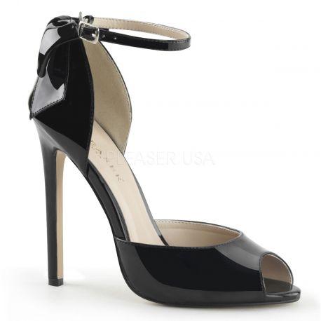 Chaussures escarpins d'Orsay noirs vernis talon fin sexy-16