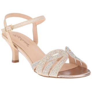 Sandale dorée à lanières petit talon
