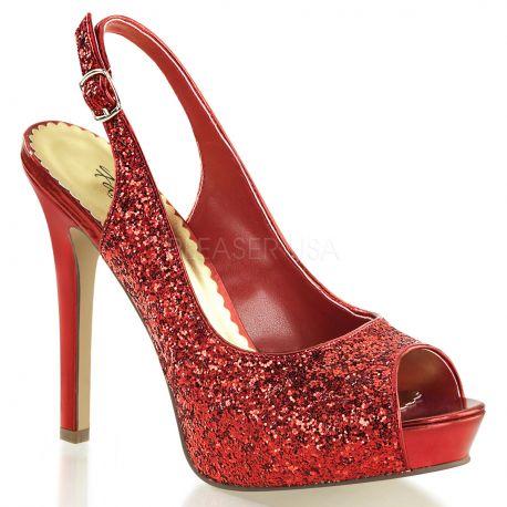 Sandale à paillettes rouges talon haut