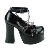 Escarpins gothiques noirs à chaines
