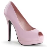 Escarpins Peep Toe coloris rose vernis