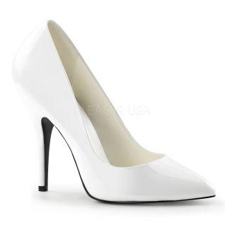 Chaussures escarpins blancs vernis talon aiguille SEDUCE-420