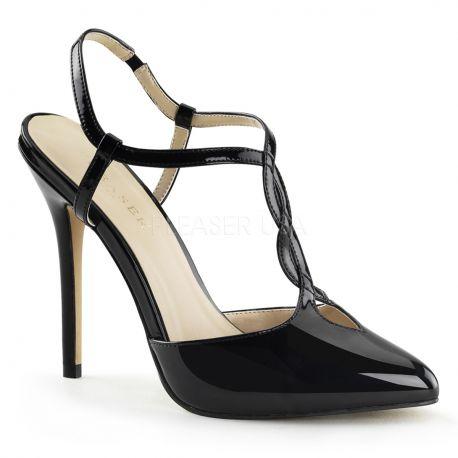 Chaussures à brides escarpins d'Orsay noirs vernis amuse-16