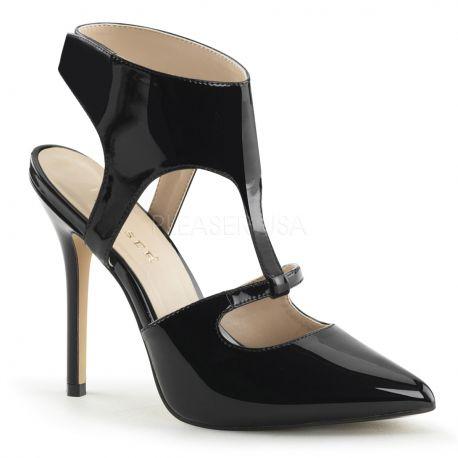 Chaussures sexy escarpins d'Orsay noirs vernis talon fin amuse-19