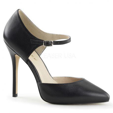 Chaussures en cuir escarpins noirs à lanière talon fin amuse-35