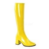 Bottes jaunes vernies style rétro