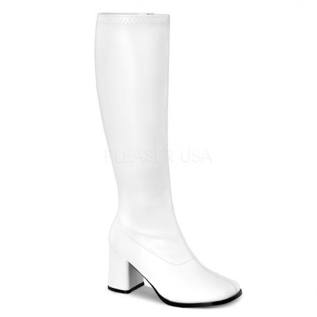 Bottes blanches mollets larges gogo-300wc