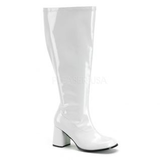 Bottes blanches vernies extra larges gogo-300x