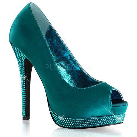 Chaussures escarpins Peep Toe coloris turquoise talon haut bella-12R