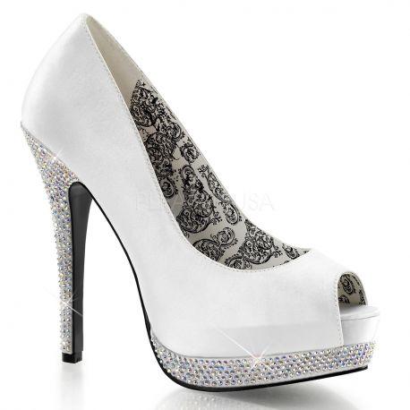Chaussures escarpins Peep Toe coloris ivoire  talon haut bella-12R