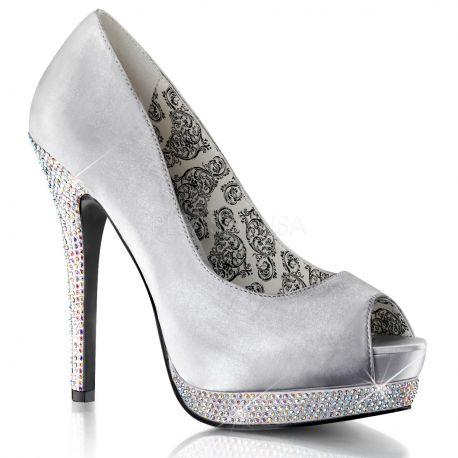 Chaussures escarpins Peep Toe coloris argent talon haut bella-12R