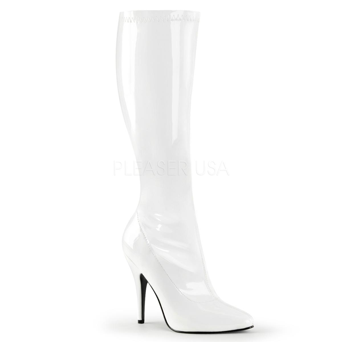 bottes blanches brillantes en vinyle talon haut