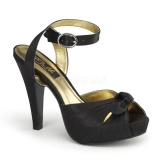 Sandales Bride Cheville en Satin Noir Talon Fin BETTIE-04