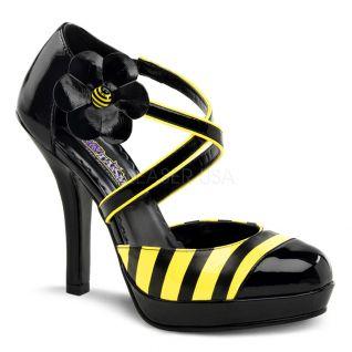Escarpins jaunes et noirs à brides croisées