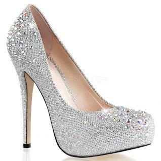 Chaussures de soirée escarpins argentés à strass talon haut