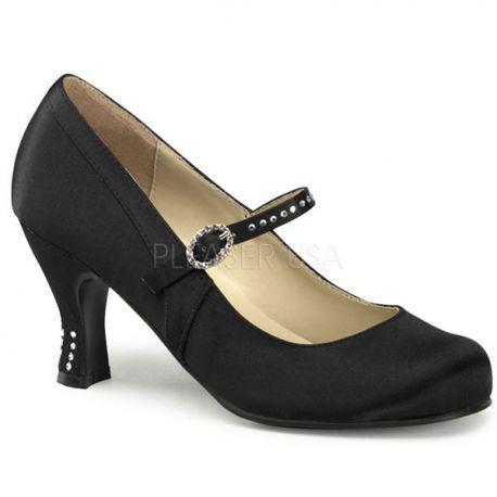 Chaussures à petit talon escarpin à bride satin noir flapper-20