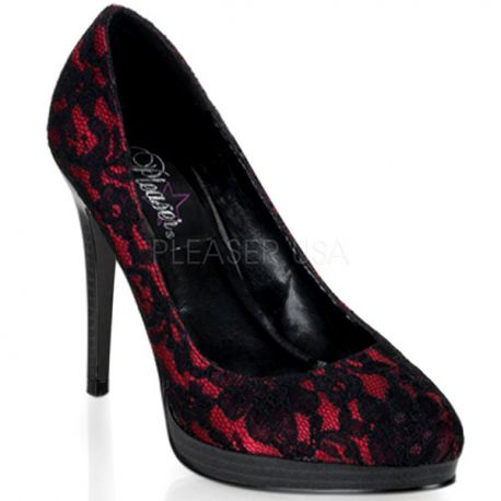Escarpins Bout Rond en Satin Rouge & Noir BLISS-30-2
