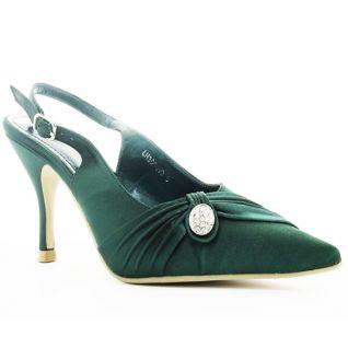 Chaussures escarpins en satin vert talon entonnoir