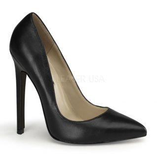 Escarpins cuir noir sexy-22