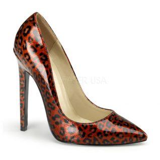 Escarpin effet léopard rouge