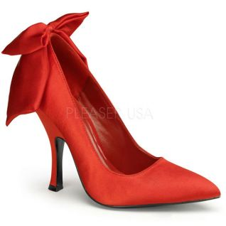 Chaussures habillées en satin escarpins rouges talon fin bombshell-03