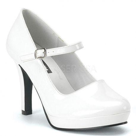 Chaussures blanches vernies escarpins à bride talon haut contessa-50