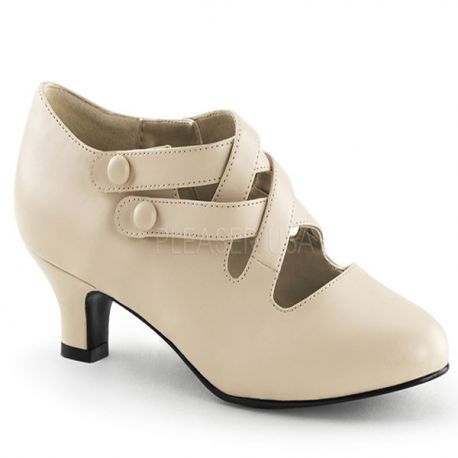 2d202f9964f0 Boutique souliers féminins à petit talon, escarpin à bride beige