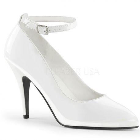 8dcd23210332 Escarpins Classiques à Bride Blanc Vernis Talon Haut Vanity-431