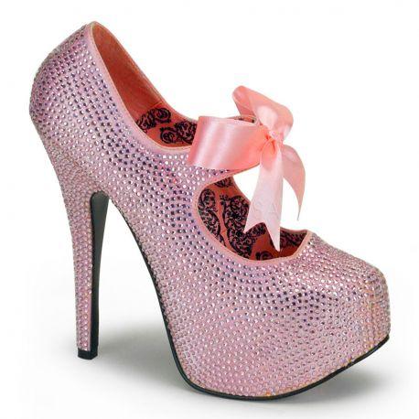 Chaussures de Spectacle escarpins roses à paillettes talon haut teeze-04r