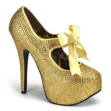 Chaussures de Spectacle escarpins dorés à paillettes talon haut teeze-04r
